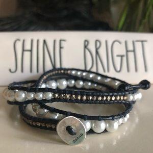 Chan Luu handmade pearl and bead bracelet in navy